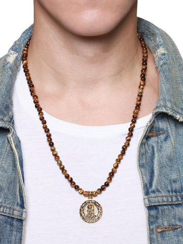 Men's Beaded Necklace with Brown Tiger Eye and Buddha Amulet - Nialaya Jewelry  - 3