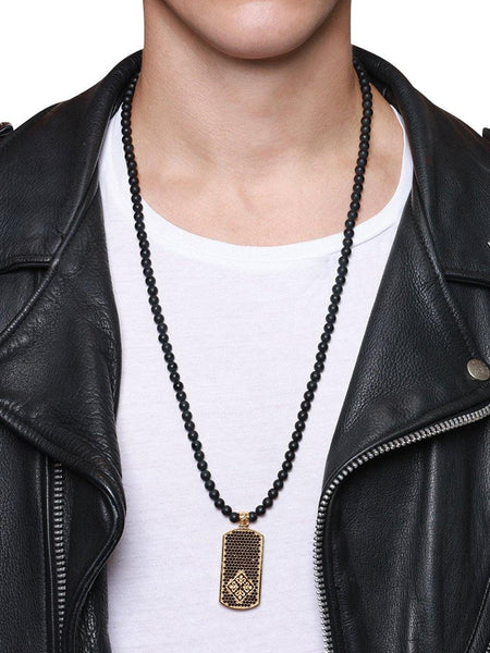 Men's Beaded Necklace with Matte Onyx and Dog Tag Pendant - Nialaya Jewelry  - 2