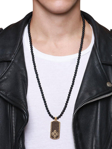 Men's Beaded Necklace with Matte Onyx and Dog Tag Pendant - Nialaya Jewelry  - 4