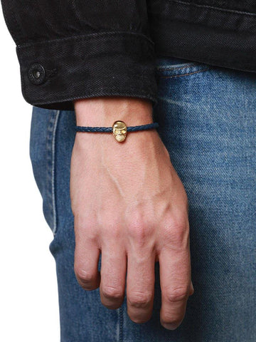 Men's Navy Leather With Gold Skull Bead - Nialaya Jewelry  - 3