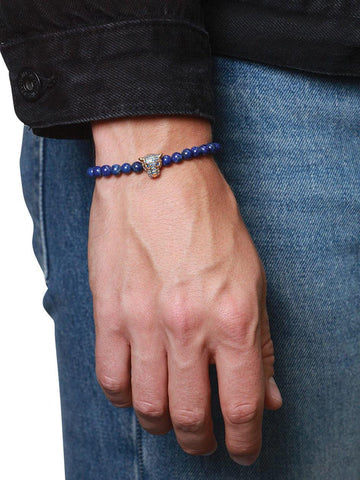 Men's Wristband With Blue Lapis And Gold Panther Head - Nialaya Jewelry  - 2