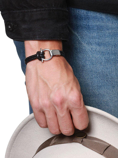 Men's Black Leather Bracelet with Silver Hook Closure - Nialaya Jewelry  - 2