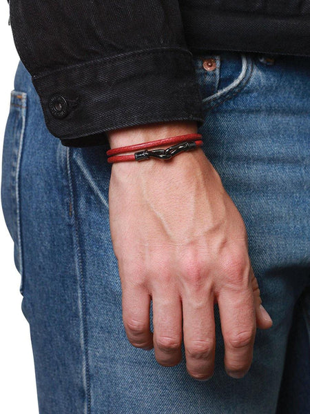 Men's Red Double-Wrap Leather Bracelet with Black Hook Lock - Nialaya Jewelry  - 2