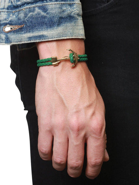Men's Green Leather Bracelet with Gold Anchor - Nialaya Jewelry  - 2