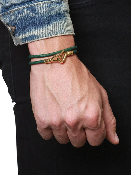 Men's Green Double-Wrap Leather Bracelet with Gold Hook Lock - Nialaya Jewelry  - 2
