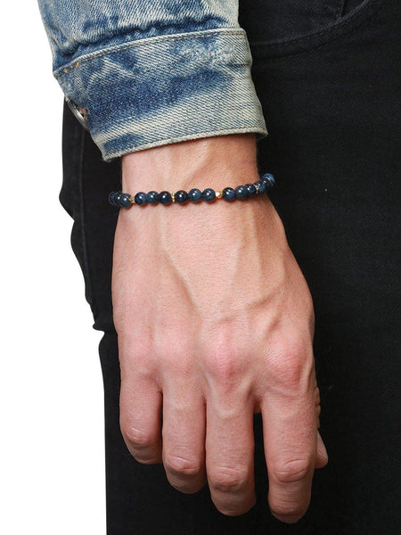 Men's Beaded Bracelet With Blue Coral and Gold - Nialaya Jewelry  - 2