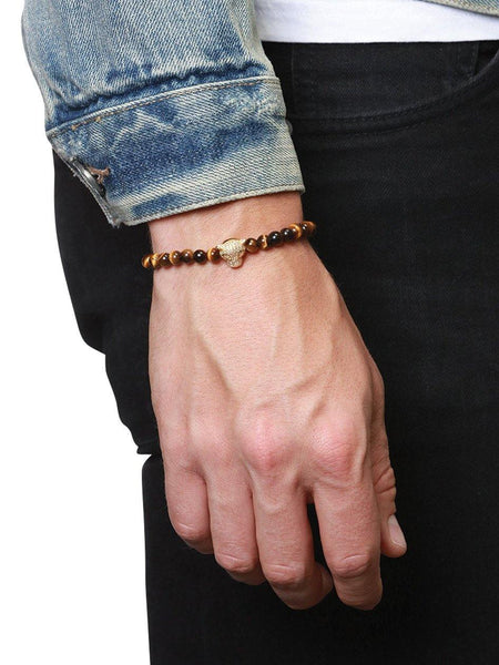 Men's Wristband With Brown Tiger Eye And Gold Panther Head - Nialaya Jewelry  - 2