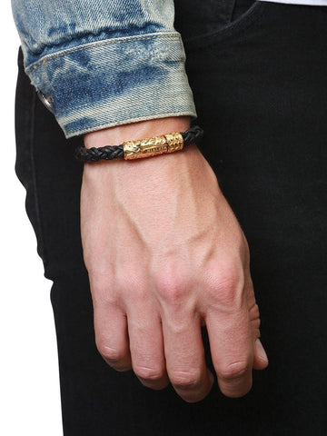 Men's Black Braided Leather Bracelet with Gold Lock - Nialaya Jewelry  - 4