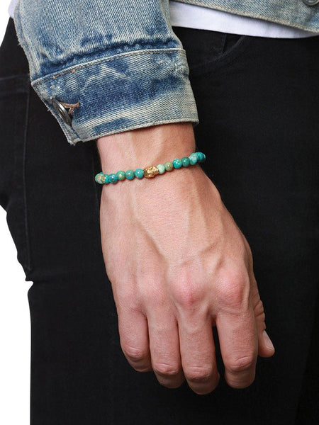 Men's Wristband with Bali Turquoise and Gold Skull - Nialaya Jewelry  - 2