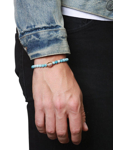 Men's Wristband With Larimar And Gold Panther Head - Nialaya Jewelry  - 2