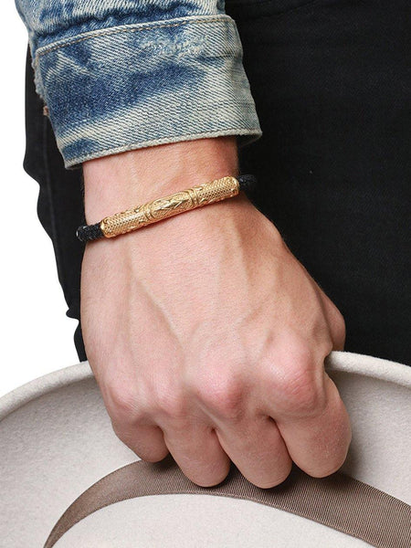 Men's Black Stingray Bracelet with Gold - Nialaya Jewelry  - 2