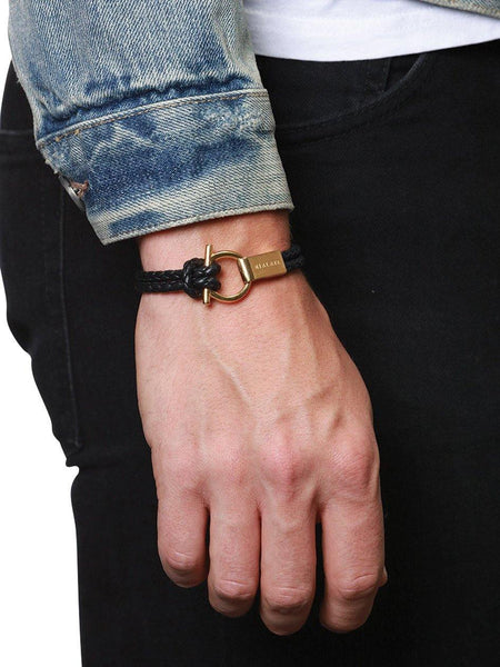 Men's Black Leather Bracelet with Gold Hook Closure - Nialaya Jewelry  - 2