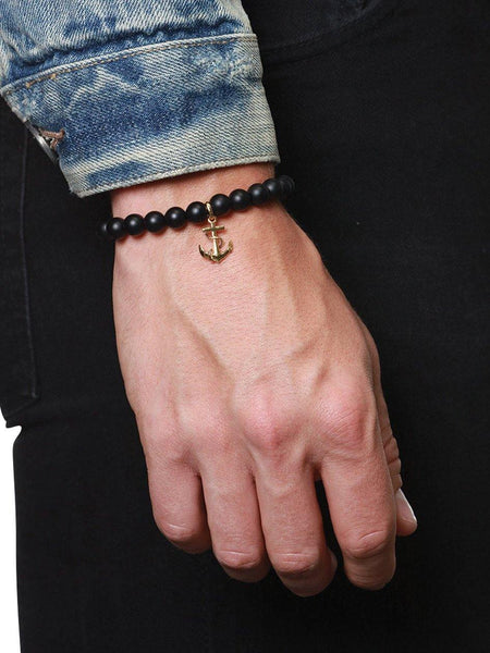 Men's Wristband with Matte Onyx and Gold Anchor - Nialaya Jewelry  - 2