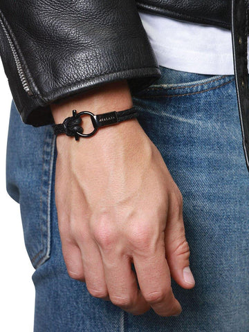 Men's Black Leather Bracelet with Black Rhodium Hook Closure - Nialaya Jewelry  - 3