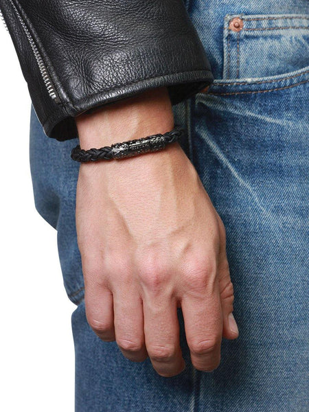 Men's Black Braided Leather Bracelet with Black Rhodium Lock - Nialaya Jewelry  - 2
