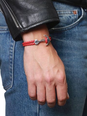 Men's Red Leather Bracelet with Silver Anchor - Nialaya Jewelry  - 3