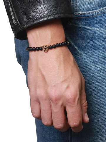 Men's Wristband With Matte Onyx And Gold Panther Head - Nialaya Jewelry  - 2