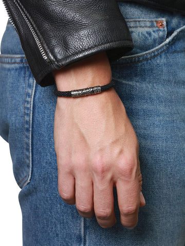 Men's Black Stingray Bracelet with Black Rhodium Lock - Nialaya Jewelry  - 3