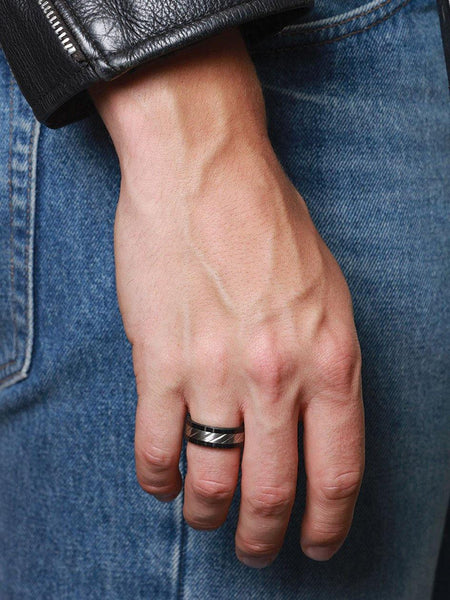 Men's Titanium and Carbon Cable Ring - Nialaya Jewelry  - 2