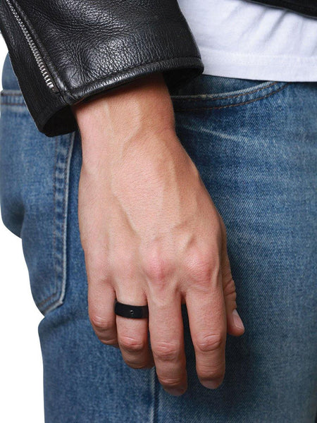 Men's Black Carbon Fiber Ring - Nialaya Jewelry  - 2