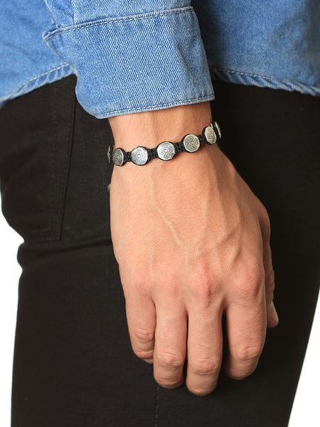 Men's Flatbead Bracelet with Silver Dorje Beads - Nialaya Jewelry  - 2