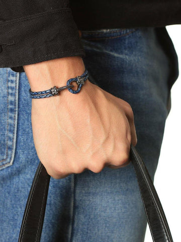 Men's Blue Leather Bracelet with Black Rhodium Hook Clasp - Nialaya Jewelry  - 4