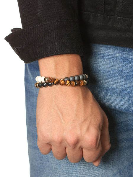 Men's Wrap-Around Bracelet with Tiger Eye, Blue Coral, Hematite, Matte Onyx and Jasper - Nialaya Jewelry  - 2