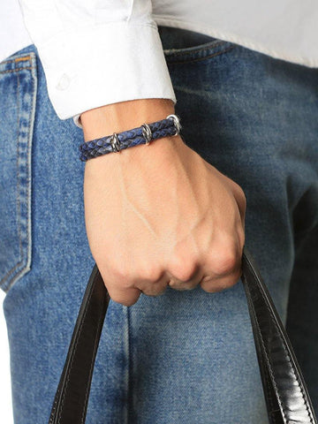 Men's Python Collection - Dark Blue Python with Silver - Nialaya Jewelry  - 2