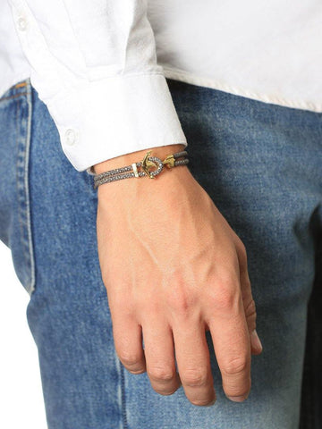 Men's Grey Stingray Bracelet with Gold Anchor Lock - Nialaya Jewelry  - 2