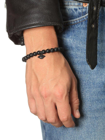 Men's Wristband with Matte Onyx and Evil Eye - Nialaya Jewelry  - 2