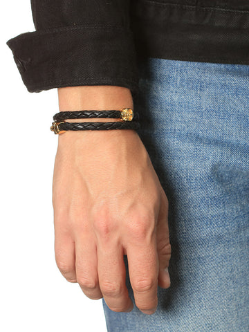 Men's Black Leather Bracelet with Gold Skulls - Nialaya Jewelry  - 4