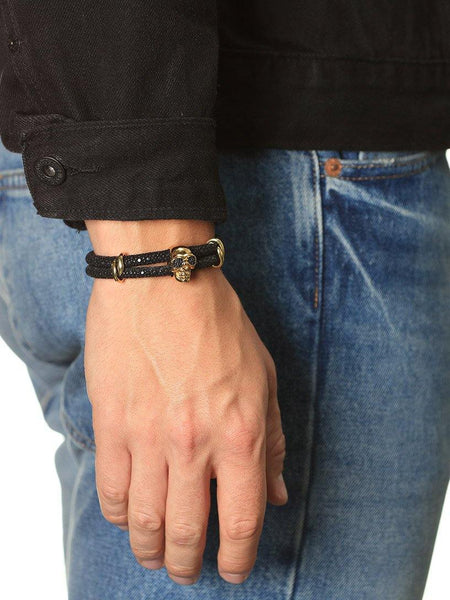 Men's Black Stingray Bracelet with Gold Skull - Nialaya Jewelry  - 2