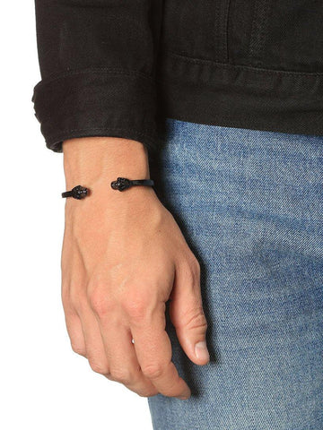 Men's Black Skull Bangle - Nialaya Jewelry  - 5
