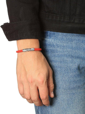 Men's Red Stingray Bracelet with Vintage Silver Lock - Nialaya Jewelry  - 2