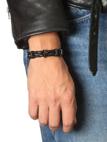 Men's Black Leather Bracelet with Chakra and Beveled Square Bead - Nialaya Jewelry  - 3