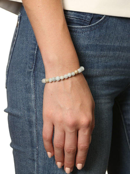 Women's Beaded Bracelet with Aquamarine and Pearls - Nialaya Jewelry  - 2