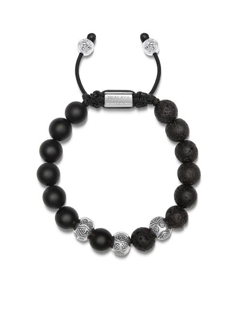 PRE-ORDER: Men's Beaded Bracelet with Matte Onyx, Lava Stone and Engraved Sterling Silver Beads