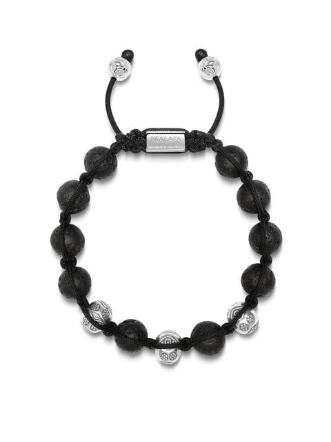 PRE-ORDER: Men's Beaded Bracelet with Lava Stone and Engraved Sterling Silver Beads