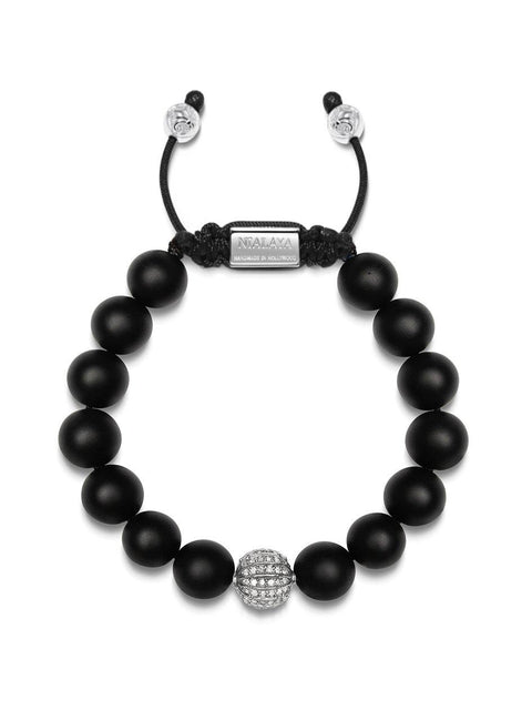 Men's Beaded Bracelet with Matte Onyx with Grey Single Cut Diamond Pave Ball
