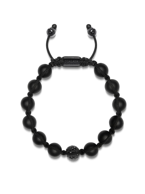 Men's Beaded Bracelet with Matte Onyx and Black Diamond