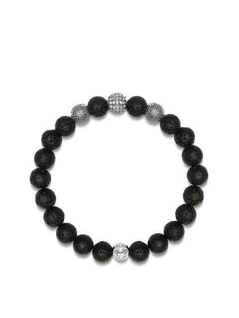 Men's Wristband with Lava Stone, Cairo Beads and Grey Single Cut Pave Diamond Ball