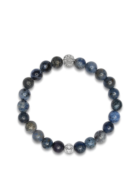 Men's Wristband with Blue Dumortierite  and Grey Single Cut Pave Diamond Ball