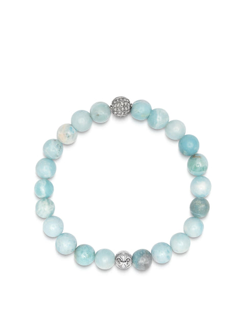 Men's Wristband with Larimar and Grey Single Cut Pave Diamond Ball