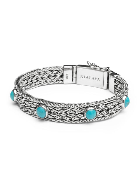 Men's Silver Braided Chain Bracelet with Turquoise