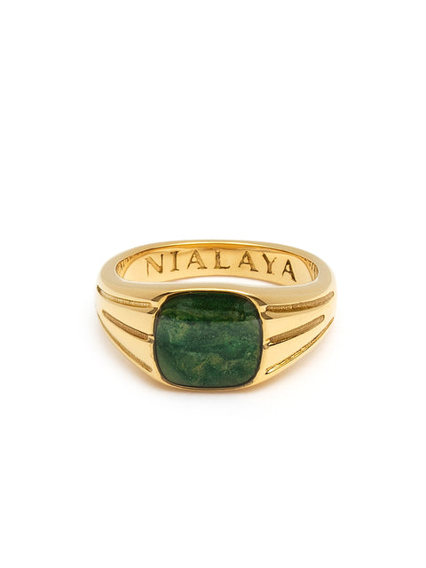 Mini Signet Ring with African Green Jade