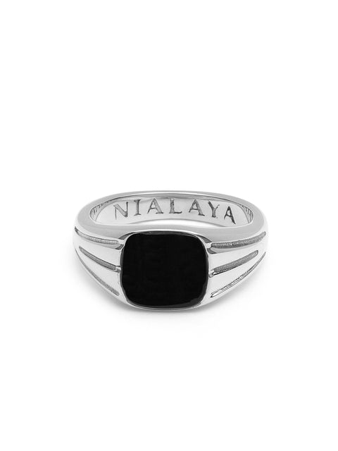 Silver Mini Signet Ring with Matte Onyx
