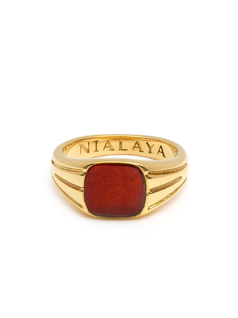 Mini Signet Ring with Red Ruby CZ