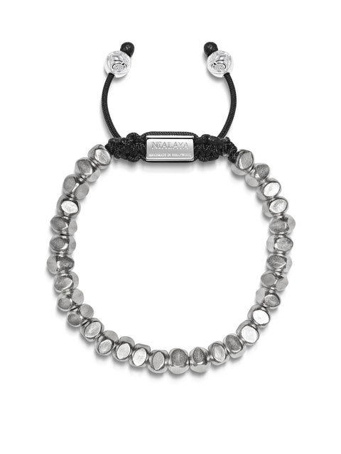 Men's Beaded Bracelet with Faceted Sterling Silver Beads