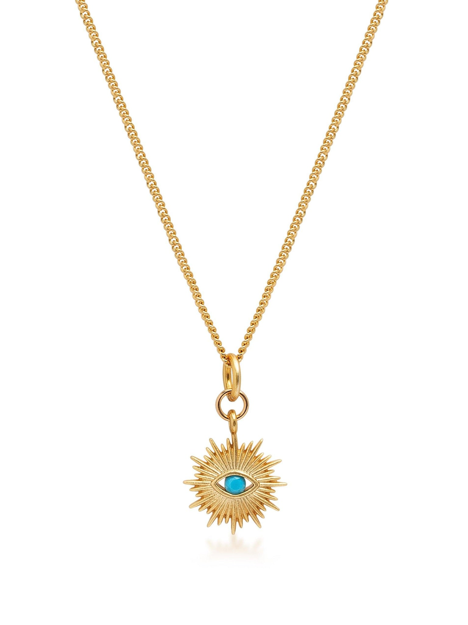 Women's Gold Necklace with Mini Evil Eye Pendant - NIALAYA INC