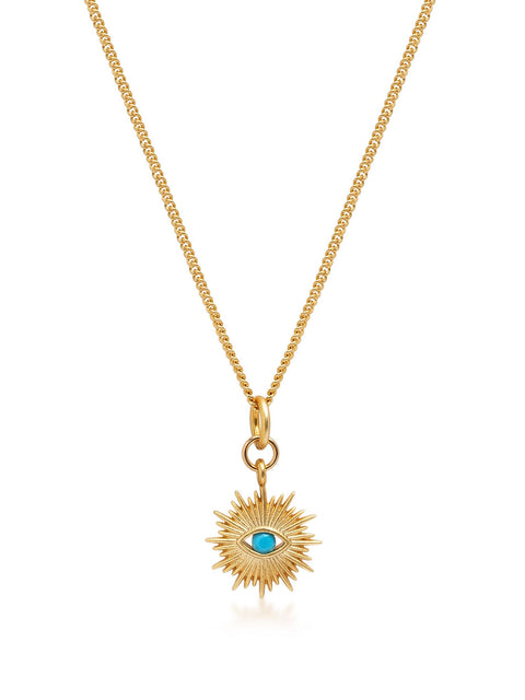 Women's Gold Necklace wit Mini Evil Eye Pendant